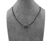 """12-13mm 14K Gold High Luster Baroque Tahitian Cultured Pearl necklace with Leather,18"""""""