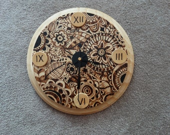 Pyrography Doodle Clock