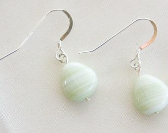 Pale Green Striped Glass & Sterling Silver Earrings