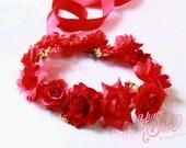 red flower crown, baby flower crown, flower girl flower crown, baby floral headband, floral headband for babies, flower girl flower headband