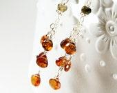 Brown Tundra Sapphire earrings, Sterling Silver wire wrapped gemstones, fine dangle earrings, cluster earrings, gift, boho earrings,3268