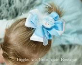 Snowman Over the Top Hair Bow