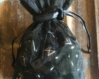 Black Glass 25pc Elder Futhark Rune Set with Bag