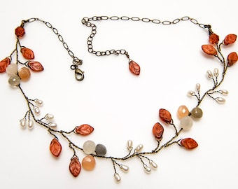 Rustic Sunstone Necklace, Orange and White Vine Necklace, Beaded Necklace, Nature Jewelry,  Leaf Necklace, Woodland Jewelry