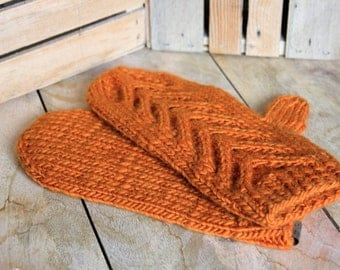 Mittens // Hand Knit // Wool // Orange // Chevron // Pumpkin // Gifts for Her // Gifts for Him // Gifts for Mom