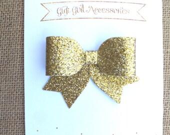 Gold Glitter Hair Bows, Gold Hair Bow, Gold Hair Clip, Gold Glitter Bow, Glitter Hairbows, Christmas Hair bow