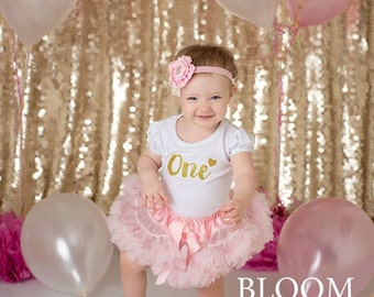 Baby Girl Birthday Clothing..Pink & Gold Cake Smash Outfit..Girl Skirt and Top Set..Baby's 1st Birthday Outfit..Photography Prop.