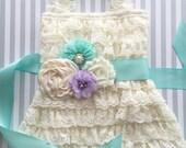 Baby girls lace dress-ivory aqua girls dress-Easter dress-1st birthday dress-ivory lace dress-cake smash outfit-lace flower girl dress
