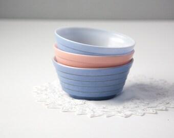 Hazel Atlas Moderntone Platonite Cereal Bowls, Pastel