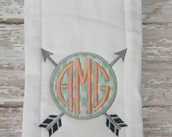 Circle Arrows Monogrammed Burp Cloth in Mint & Coral