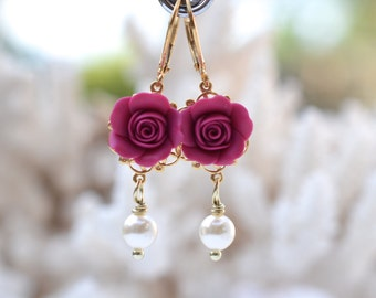 Magenta Rose and pearls Statement Earrings. Tamara Statement Earrings in Magenta Rose.