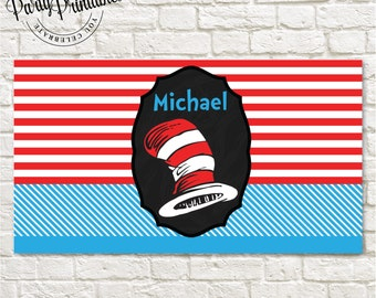 Cat in the Hat  Party Dessert Banner | Cat in the Hat Party Banner Printable | Cat in the Hat Party | Party Printables
