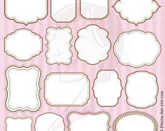 BROWN Frame Clipart DIY Wedding Bridal Shower Invitation Scrapbook Craft Frames Commercial Use Clip Art White Middle 10331