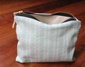Organic Cotton Zipper Pouch, Small, Soft Blue Dots