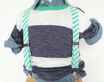 Spearmint Mint Stripe Suspenders