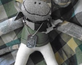 Military Army Camoflauge Sock Monkey Doll