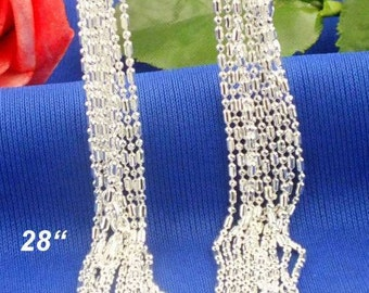 28 inch  (1pc)- Sterling Silver 1mm COLUMN Necklace Chains - .925 stamped -lobster clasp - Sterling Silver Stamped - Bulk - Column and Ball