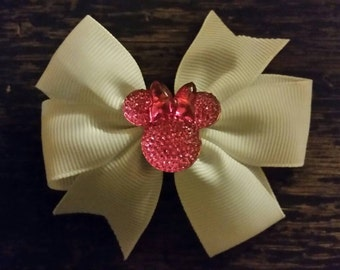 White bow with pink disney ears  girls women