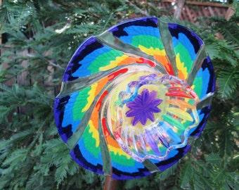Glass Garden Art - Hand Painted Rainbow Garden Decor - Suncatchers - Glass Plate Flower - Outdoor Garden Decorations - Fence Art