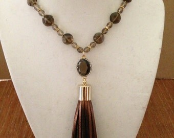 Smoky quartz and leather tassel necklace