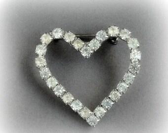 Vintage Clear Rhinestone Heart Pin Brooch