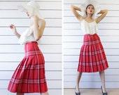 Vintage red blue white check tartan plaid pleated full knee midi skirt XS