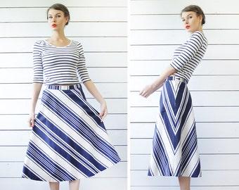 Vintage navy blue white cotton striped A-line ankle length midi skirt M L