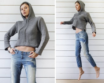 BENETTON Vintage grey wool knit long sleeve hooded cropped length sweater slouchy hoodie top S
