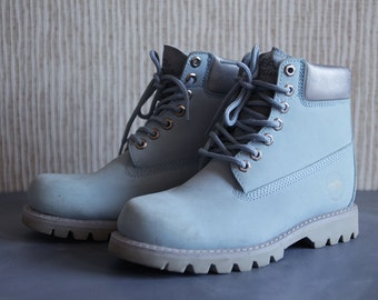 Vintage powder blue leather women army hiking combat boots Size 38 7.5
