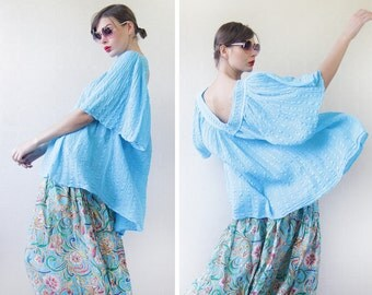 Free size vintage sky blue cotton oversized slouchy wide kimono sleeve top blouse