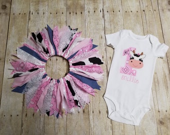 Made to Order - Cow Applique 1 Shirt with Cowgirl Scrap Tutu - Pink Bandana, Gingham, Cow Print, Lace - 1st Birthday Outfit
