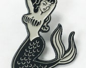 Mermaid Pin Up Girl Tattoo Style Enamel Lapel Pin