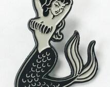 Mermaid Pin Up Girl Tattoo Style Enamel Lapel Pin