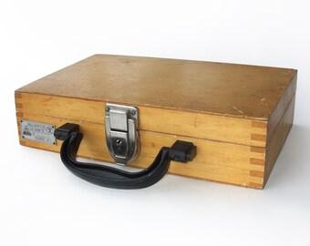 Vintage Unique Wooden Case with Plastic Handle, 1976
