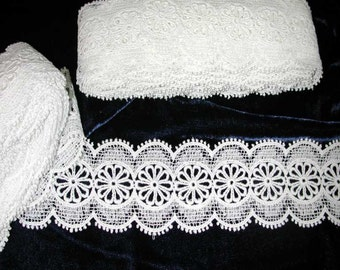 No. 100 Vintage White Cotton Guipure Insertion lace; (2 Pcs) 9.5 Yds x 1-3/4