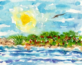 "Beach watercolor print ""Island"""