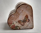 Custom listing for Constance Small pink decoupaged wooden heart shaped box butterfly scripts flowers