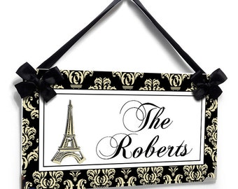 custom family est sign paris themed themed personalized family name plaque   sign - P642