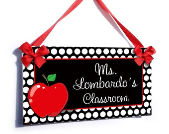 personalized teacher name classroom door sign - white dots red apple themed class wall plaque - P210