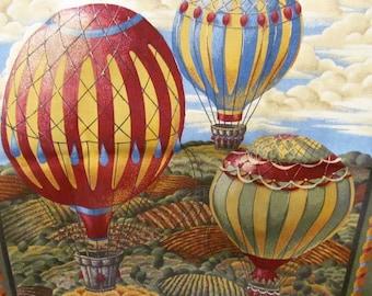 "Hot air balloon pillow squares panel.  2 squares measuring 17"" x 17"""