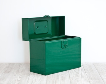 Vintage Steel File Box, Forest Green