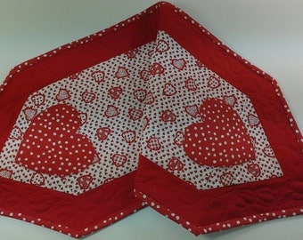 Valentine's Day table runner, handmade quilted and reversible table topper