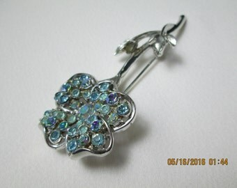 Coro brooch silver and AB floral