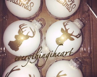 Gold and white deer Christmas ornaments