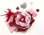 Baby Girl Headband- Pink Red Baby Headbands-Newborn Headband- flower headband
