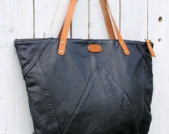 Upcycled Black leather tote bag with striped lining