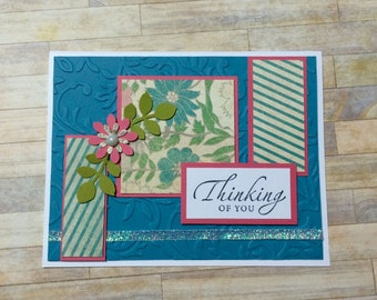 Thinking of you card, Handmade card, greeting card, Floral design Embossed