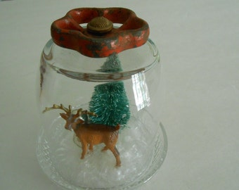 vintage upcycled cloche dome with Christmas holiday deer tree display decor