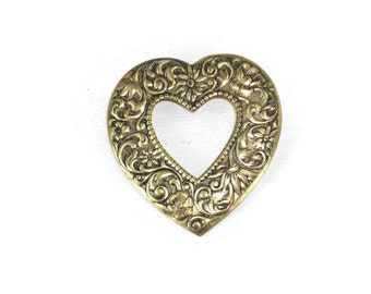 Vintage Gold Tone Heart Brooch or Pin