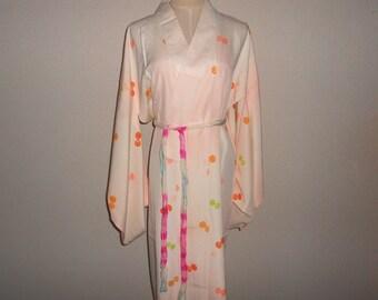 SALE 30%off!! Vintage nagajyuban - Tsuzumi, Sakura pink